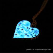 Colar de pingente de coração de moda colar de borla de pedra Lumionous falso
