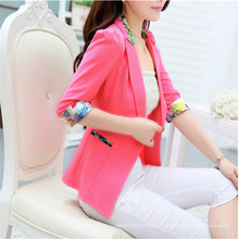 High Quality Candy Color One Button Ladies Blazer Designs (50090-1)