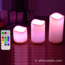 led warm yellow light pillar candle with remote