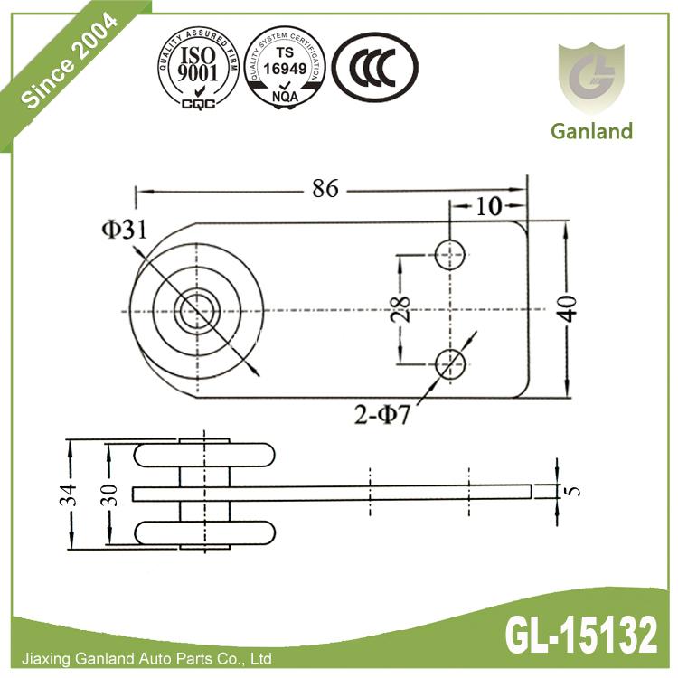 2-bolt plate roller 15132