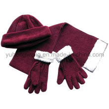 Inverno quente senhora Knitting Polar Fleece Set