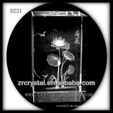 K9 3D Laser Untergrund Blume in Crystal Rectangle