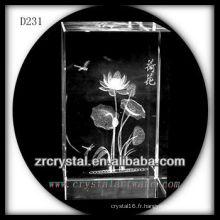 Fleur souterraine de laser de K9 3D à l'intérieur du rectangle en cristal