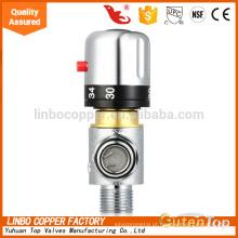 Válvula de mistura termostática de três vias com latão de baixo-chumbo, 1/2 Polegadas Válvula de mistura termostática de três vias de fusão de NPT com latão baixo-chumbo, masculino de NPT de 1/2-polegada