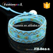 envoltório de sementes japonês grânulo mulheres brilho o bracelete de couro