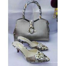 Schlange Textur High Heel Schuhe und Taschen (G-34)