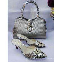 Zapatos y bolsos de tacón alto con textura de serpiente (G-34)