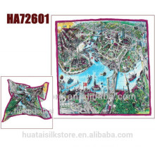 City scenery digital print custom design silk scarf