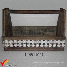 Decoración de encaje de madera de abeto Fabricada a mano cesta de herramientas de jardín