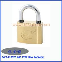 Candado chapado en oro de alta calidad impermeable del hierro del tipo del arco