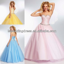 HE2116 Yellow beaded all over bodice tull ball gown latest party gowns designs