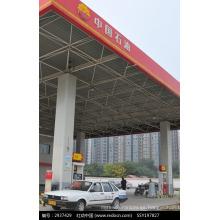 Canopy prefabricado de la gasolinera con la estructura del marco del espacio Sistemas de la azotea
