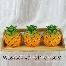 High quality Ceramic Pineapple Condiment Bottle Set Tableware For Kitchen