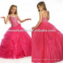 LL-0050 Lovely Halter Beaded Rhinestone Detail Ball Gown Sweep Train Wedding Dress Flower Girl Dress