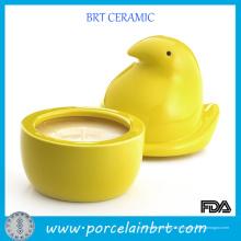 Pots de bougie uniques jaunes en céramique de poussin