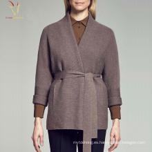 Abrigo de frente abierto con diseño de cachemira y tallas grandes para mujer