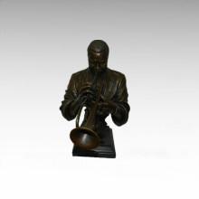 Busto Bronze Estátua Trompete Decoração Bronze Escultura Tpy-744