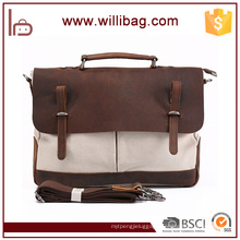 Wholesale Factories Canvas Handbags For Man Genuine Leather Messenger Bags