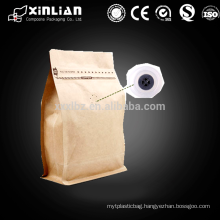 factory price kraft paper foil inside coffee bag with one valve