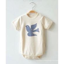 Bodysuit bebê adorável algodão com impressão animal e cor da natureza