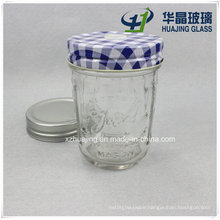 6oz 180ml Clear Empty Embossed Glass Mason Jar