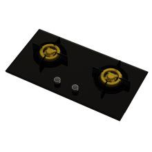 Estufa de gas de la hornilla de cobre amarillo única suprema (vidrio de 8m m)
