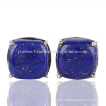 New Arrival Natural Lapis Lazuli Gemstone 925 Sterling Silver Stud Earring Jewelry