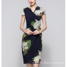 Vestido de mujer elegante de estilo chino de verano Lotus Flower Print