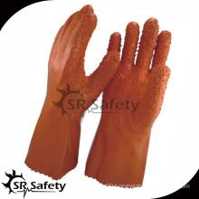 SRSAFETY cotton interlock coated orange PVC,rough finish on palm/chemical proof PVC gloves