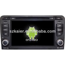 Lecteur DVD de voiture système Android pour Audi A3 avec GPS, Bluetooth, 3G, ipod, jeux, double zone, commande au volant