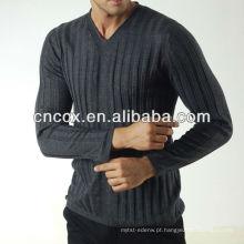 13STC5582 mais recente projeto pullover V-neck mens cabo camisola de malha