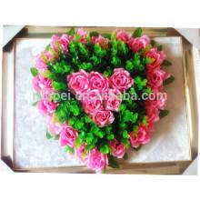 Grinalda artificial da flor da forma do coração por atacado real do toque para o funeral