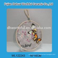 Porte-pot en céramique design papillon avec corde à levure blanche