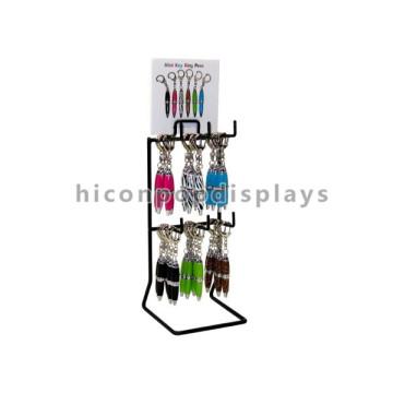 Custom Signage Metall Tisch Top 2-Tier 6 Haken Hanging Creative Schlüsselanhänger Kugelschreiber Display