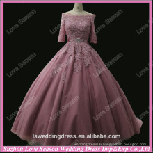 RP0054 Peach color off shoulder short sleeve lace appliqued top bow ball gown prom dresses real sample pictures prom dresses