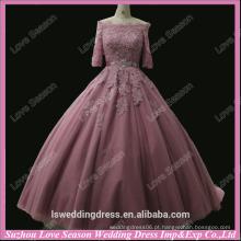 RP0054 Cor de pêssego fora do ombro Casaco de manga curta aplicada no arco superior vestido de baile vestidos de baile imagens de amostra real vestidos de baile