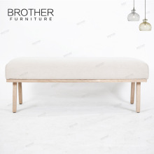 Elegant Beige Long Fabric Bench Seat Upholstered Stool Ottoman