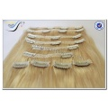 Wholesale high quality silky straight blond hair clip in human hair extensions