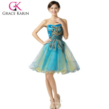 Grace Karin Strapless Dark Turquoise Short Tulle Peacock Homecoming Dress CL007541-6