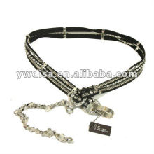 women's PU belt with black flannelet, clear rhinestones, alloy accessories, rhodium plated