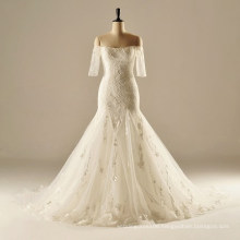 AH1906 half sleeve long train mermaid wedding dresses 2016 unique boat neck wedding dresses