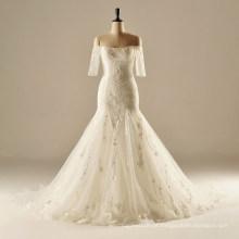 AH1906 meia manga longo tren sereia casamento vestidos 2016 único barco pescoço casamento vestidos