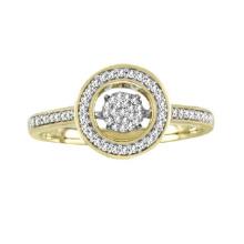 18K Gold Micro Setting Dancing Diamond Ring Jewelry