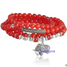 Natural Red Onyx Beads Bracelet with Silver Charm (BRG00014)