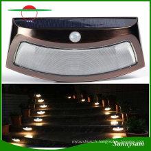 Éclairage extérieur imperméable à l'eau de jardin lampe solaire 8 LED PIR détecteur de mouvement de lumière de mur lumière étape / escalier lumière