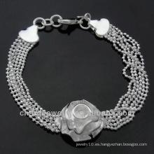 Venta caliente 925 pulseras encantadoras BSS-019 de la flor del encanto de la joyería de plata