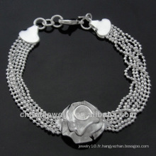 Vente en gros 925 bijoux en argent Lovely Charm Flower Bracelets BSS-019