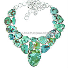 Newest Best Quality Tibetan Turquoise Gemstone 925 Sterling Silver Strand Designer Necklace