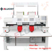 Two Head Industrial Computer/Computerized Embroidery Machine with Touch Screen for Cap T-Shirt & Flat Industrial Embroidery