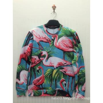 Allover Beautiful White Crane Printed Space Cotton Shirt